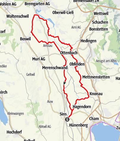 Karte / 🎬 Sins – Jonen – Hermetschwil – Bünzen – Rickenbach – Mühlau (Rundtour)