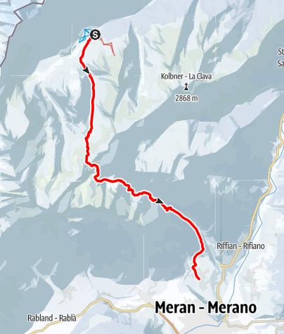 Map /  Transalp mit Ski - Etappe 5: Pfelders - Meran