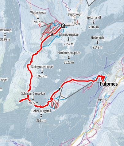 Map /  Transalp mit Ski - Etappe 3: Axams - Stubai