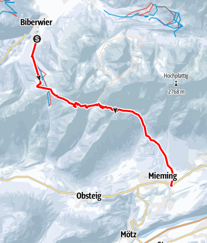 Map /  Transalp mit Ski - Etappe 2: Biberwier - Obermieming