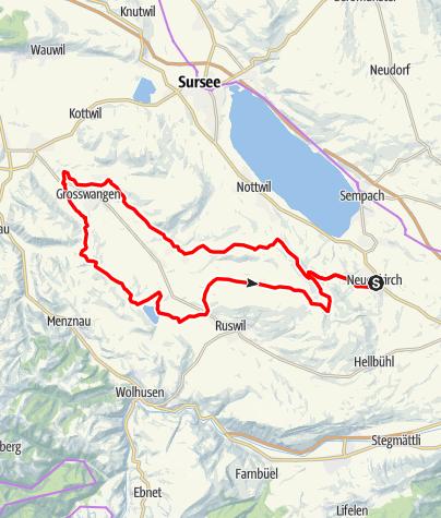 Karte / 🎬 Neuenkirch - Grosswangen - Ruswil - Wyprächtigen (Rundtour)