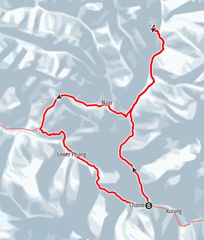 Map / Nar-Phoo Trekking: Meta, Phoo, Nar, Kang La und Ngawal (moderate trekking; 10 days from/to Kathmandu)