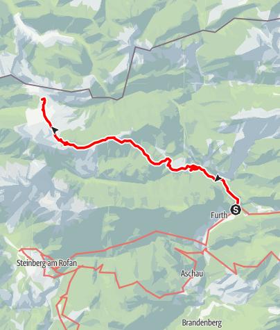 Karte /  Auf die Gufferthütte vom Kaiserhaus