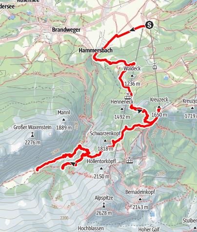 Karte / Hammersbach zur Höllentalangerhütte via Jägersteig, Hupfleitenjoch und verfallener Steig von den Knappenhäusern.