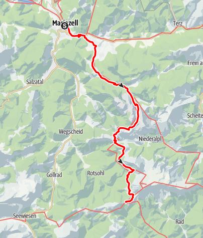 Karte / Zubringer 1 BergZeitReise Mariazell - Veitsch (Etappe 5)