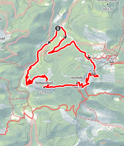 Karte / Rötlwandkopf, Hochfelln, Bründlingsköpfl