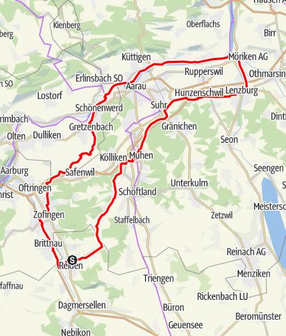Karte / 🎬  Reiden - Lenzburg - Wildegg - Aarau - Zofingen (Rundtour)