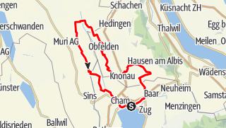 Karte / 🎬 Zug - Kappel - Obfelden - Jona - Mühlau - Zug (Rundtour)