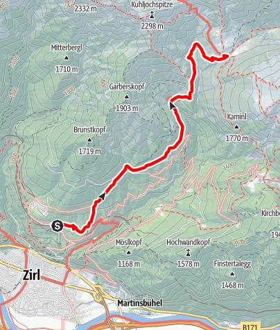 Map / Adlerweg - Etappe 14: Innsbruck - Solsteinhaus