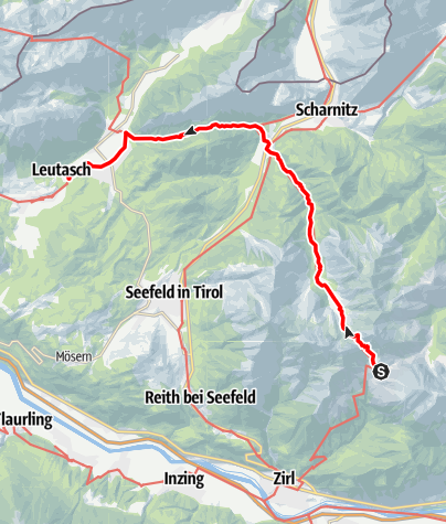 Map / Adlerweg - Etappe 15: Solsteinhaus - Leutasch