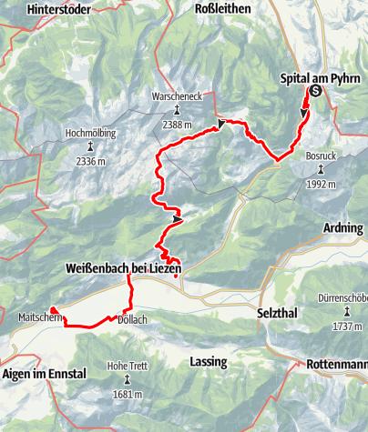 Map / Tag 40 | 4.8.21 - 100Jahr Wanderung: Spital am Pyhrn bis Wörschach