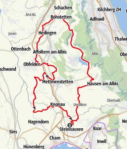 Karte / 🎬 Steinhausen - Türlersee - Aeugstertal - Knonaueramt - Frauental (Rundtour)
