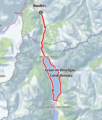 Karte / Radweg um den Reschensee