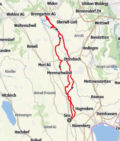 Karte / 🎬 Sins - Bremgarten via Naturschutzone (Rundtour auf wenig bekanntem Weg)