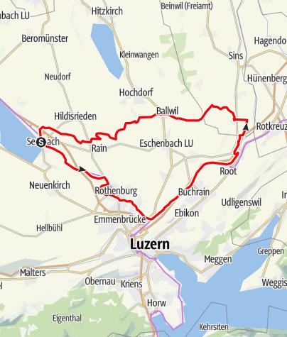 Karte / 🎬  Sempach - Rothenburg - Dietwil - Ballwil - Rain (Rundtour)