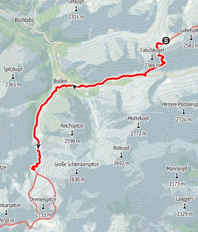 Map / Adlerweg - Etappe 19: Anhalter Hütte - Hanauer Hütte