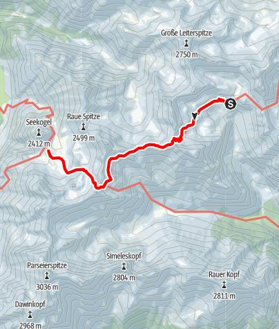 Map / Adlerweg - Etappe 21: Württemberger Haus - Memminger Hütte
