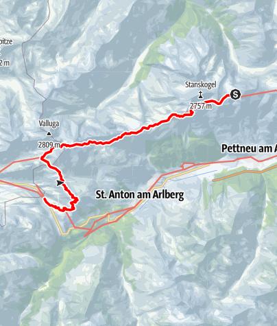 Map / Adlerweg-Etappe 24: Kaiserjochhaus - St. Christoph am Arlberg