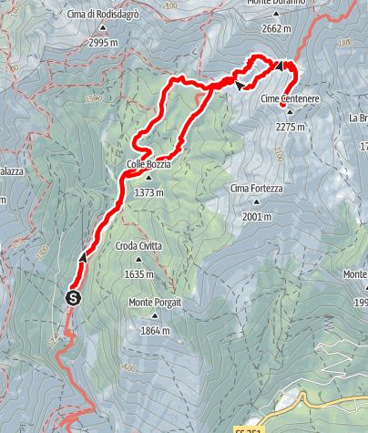 Karte / Forcella Duranno e Cime Centenere da Casera Mela