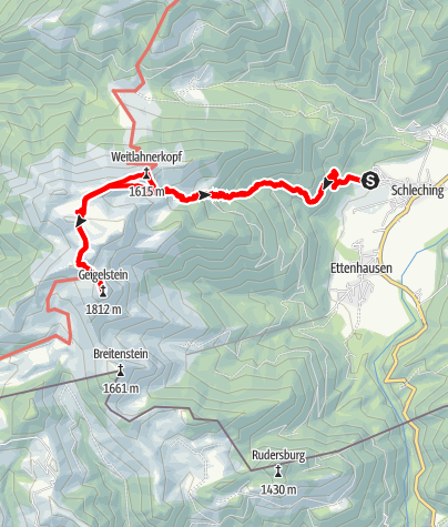 Karte / Bergtour am 21. Juli 2021 Waitlahnerkopf - Geigelstein