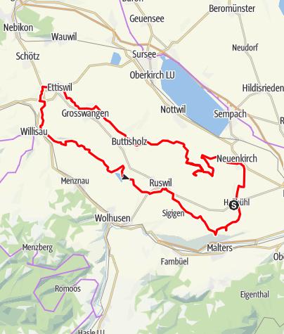 Karte / 🎬 Hellbühl - Flöss - Alberswil - Willisau - Ostergau (Rundtour)