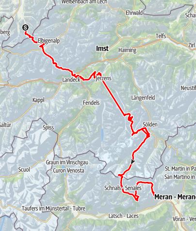 Karte / Alpenüberquerung von Oberstdorf nach Meran 10 Etappen und 1 Tagestour