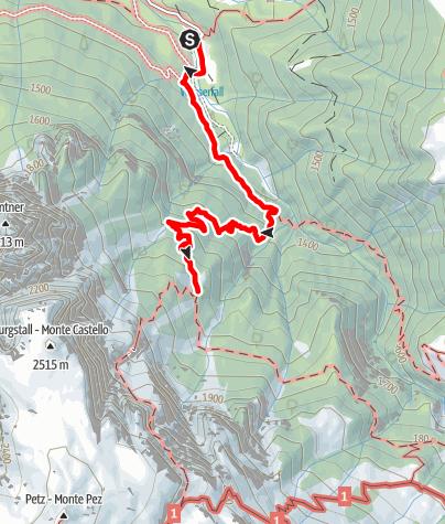 Karte / Von Bad Ratzes (Seis am Schlern) zur Schlernbödelehütte