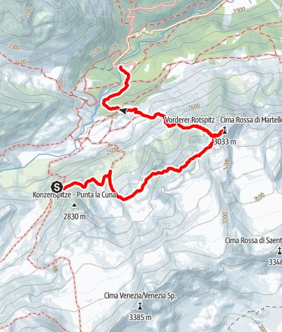Karte / Vordere Rotspitze, 3033 m ab Marteller Hütte
