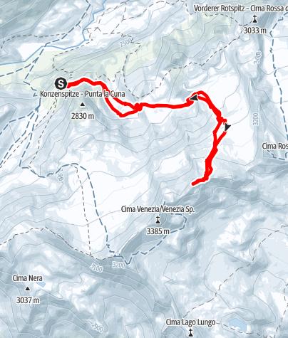 Karte / Skihochtour auf die östliche Veneziaspitze, 3.356m