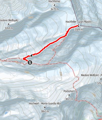 Karte / Hochfeiler 3510 m von der Hochfeilerhütte 2710 m ausgehend