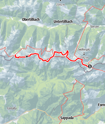 Karte / 03A Südalpenweg, E23: Hochweißsteinhaus - Porzehütte