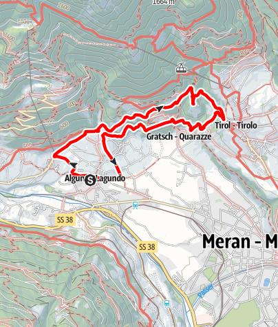 Cartina / Sentiero Burgweg - Sentiero Ochsentod - Castel Tirolo