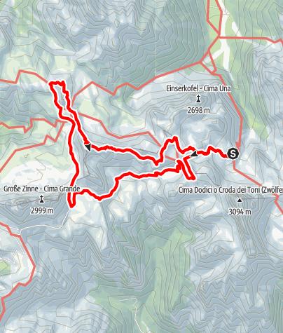 Karte / Klettersteige Sextener Dolomiten - Tag 3