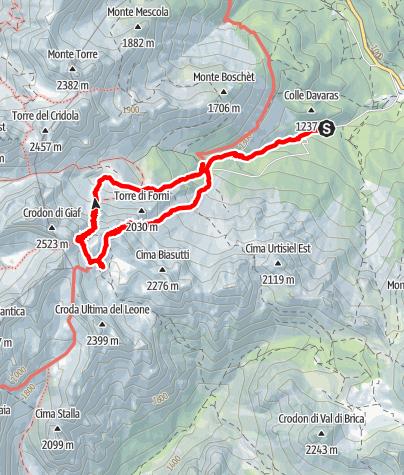 Karte / Anello del Bivacco Marchi Granzotto dal Rifugio Giaf