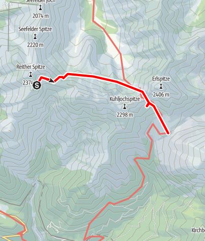 Karte / Karwendeldurchschreitung Etappe 2 - Nördlinger Hütte n. Solsteinhaus.
