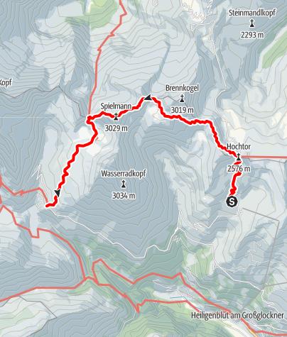 Karte / 02 Zentralalpenweg West, E08: Wallackhaus - Alpincenter Glocknerhaus
