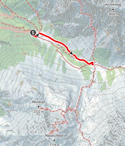 Karte / Verpeilhütte Zustieg vom Parkplatz Verpeilalm