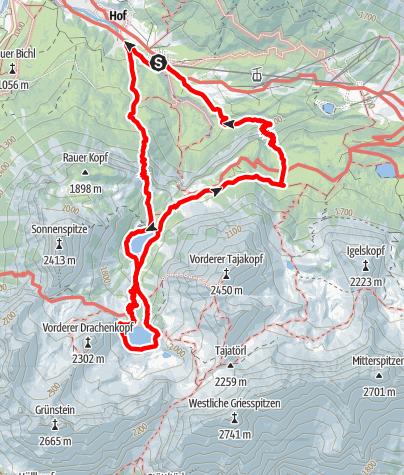 Karte / Ehrwald: Über Hohen Gang zur Coburger Hütte und zurück über den Immensteig