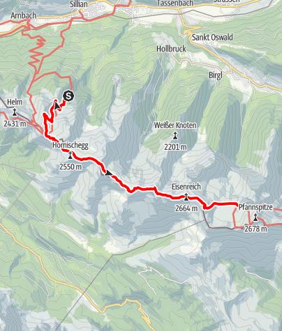 Karte / Karnische Höhenweg - Etappe 1 Leckfeldalm - Obstanersee Hütte