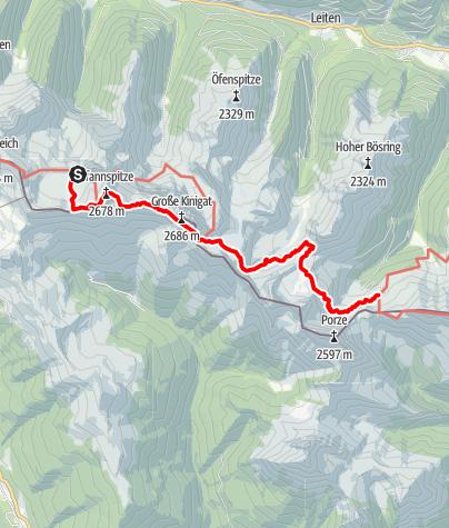 Karte / Karnischer Höhenweg – Etappe 2: Obstansersee Hütte – Porzehütte