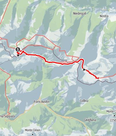 Karte / Karnischer Höhenweg – Etappe 4: Hochweißsteinhaus – Wolayersee Hütte