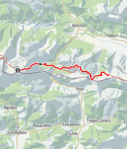 Karte / Karnischer Höhenweg – Etappe 5: Wolayersee Hütte - Zollnersee Hütte