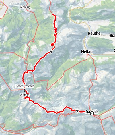 Karte / 01 Nordalpenweg, E48: Damüls – Lustenauer Hütte
