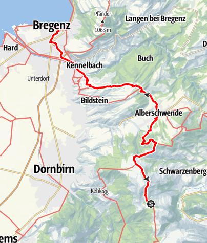 Karte / 01 Nordalpenweg, E49: Lustenauer Hütte – Bregenz