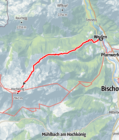 Karte / 01 Nordalpenweg, E25 (alpin): Werfen - Matras-Haus