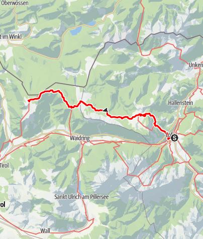 Map / 01A Nordalpenweg, E29 (Variante): Lofer - Straubinger Haus