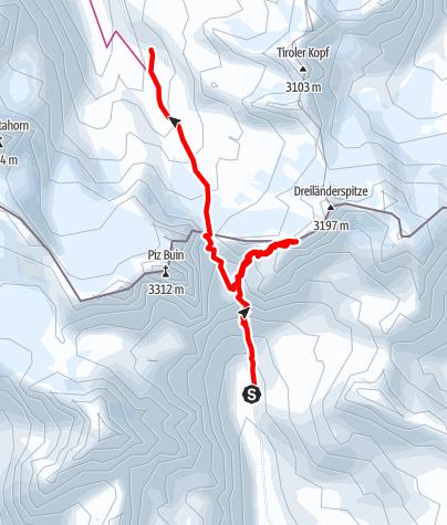 Karte / Chamonna Tuoi CAS -> Piz Jeramias -> Wiesbadener Hütte (DAV)