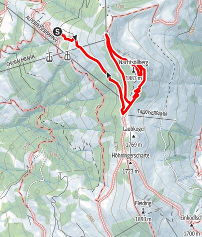 Karte / Guggenkögele (Nachtsöllberg) von der Alpenrosenhütte