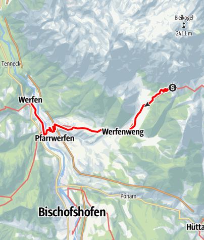 Karte / 01 Nordalpenweg, E24: Dr. Heinrich-Hackel-Hütte - Werfen
