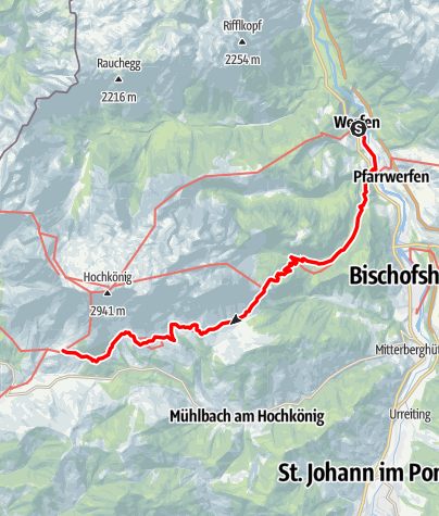 Karte / 01A Nordalpenweg, E25 (Variante): Werfen – Erichhütte